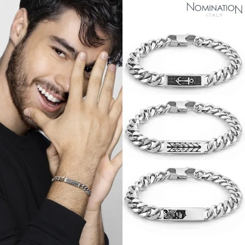 노미네이션 팔찌 INSTINCT MARINA (인스팅트 마리나) Stainless steel bracelet with vintage effect details and black crystal 027910(택1)