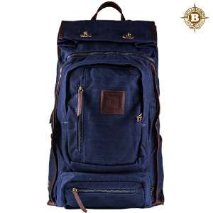 Roll Top Safari Backpack Navy Grid