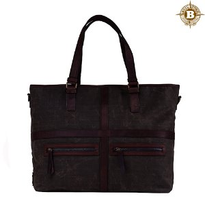 May Vintage Tote Bag Dark Oak Grid