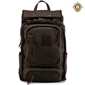 Roll Top Safari Backpack Marron Grey