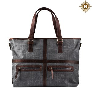 May Vintage Tote Bag Charcoal Grid