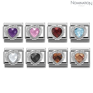 COMPOSABLE Classic HEART FACETED CZ in stainless steel & 925 silver twisted setting 330603 (택1)