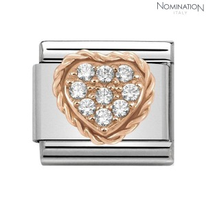 COMPOSABLE Classic PAVE in stainless steel with 9K rose gold and cubic zirconia 430312 (택1)