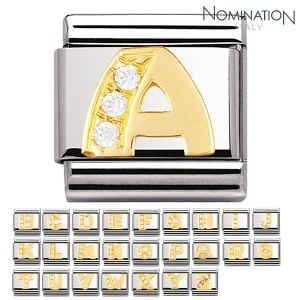 COMPOSABLE Classic LETTERS in 18k gold and Cubic Zirconia (A~Z) 030301 (택1)