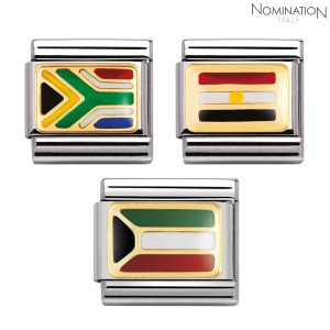 COMPOSABLE Classic AFRICA in stainless steel with enamel and 18k gold 030237 (택1)
