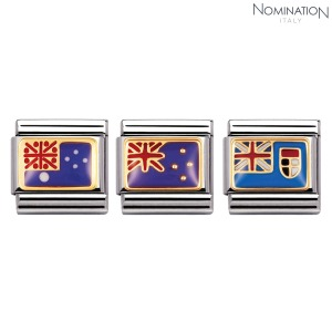 COMPOSABLE Classic OCEANIA FLAG In stainless steel with enamel and 18k gold 030238 (택1)