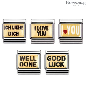 COMPOSABLE Classic MESSAGES 1 in stainless steel with enamel and 18k gold 030261 (택1)