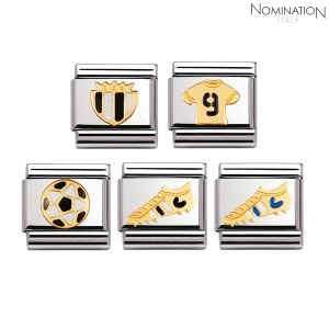 COMPOSABLE Classic ITALIAN FOOTBALL in stainless steel with enamel and 18k gold 030204 (택1)