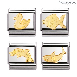 COMPOSABLE Classic ANIMALS (WATER) in stainless steel and 18k gold 030113 (택1)
