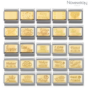 COMPOSABLE Classic ENGRAVED SIGNS in stainless steel with 18k gold 030121 (택1)