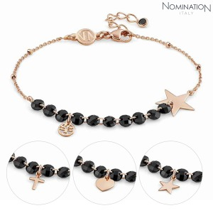 팔찌 MELODIE (멜로디에) Bracelet silver with Black Crystals and 22K rose gold plated finish 147700(택1)