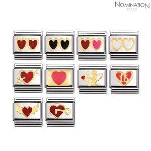 COMPOSABLE Classic LOVE in stainless steel with enamel and 18k gold 030207 (택1)