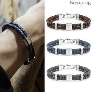 팔찌 TRIBE (트라이브) Bracelet in stainless steel vintage effect double leather and swarovski zirconia 026435(택1)