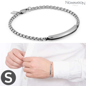 팔찌 GENTLEMAN (젠틀맨) Bracelet Stainless steel with black spinel stone pave (Small) 132902/001
