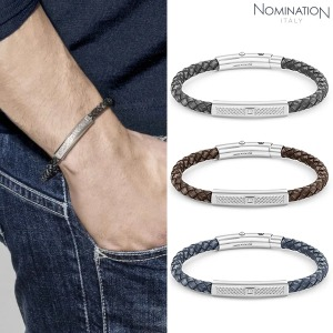 팔찌 TRIBE (트라이브) Bracelet in stainless steel vintage effect leather and swarovski zirconia 026434(택1)