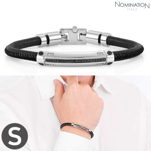 팔찌 GENTLEMAN (젠틀맨) Bracelet Stainless steel, leather with black spinel stone pave and 8 diamonds (Small) 132900/001